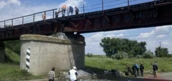 Видео с места событий взорванного моста в Запорожской области