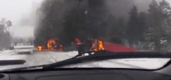 Тюмень: В ДТП сгорело четыре грузовика. Видео