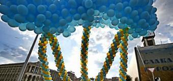В Киеве запустили Тризубец из воздушных шариков. Фото
