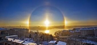 В небе одновременно появилось три солнца. Фото