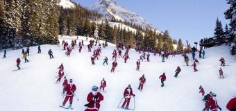 Хит интернета: 150 Санта-Клаусов катаются на лыжах и сноубордах. Видео