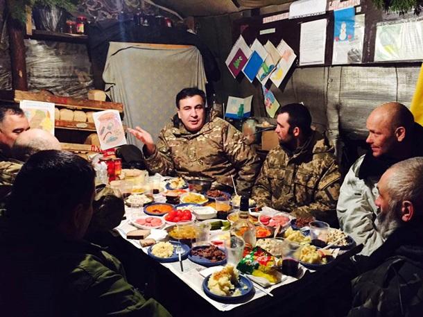 Саакашвили отправился на Новый год в зону АТО. Видео