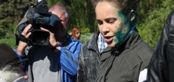 Королевскую «искупали» в зеленке на День Победы. Фото