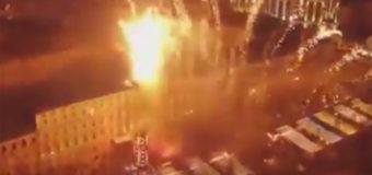 Зрелищный новогодний салют в Киеве с высоты птичьего полета. Видео