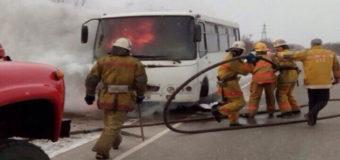 Фотофакт: В Запорожской области загорелся пассажирский «Богдан»