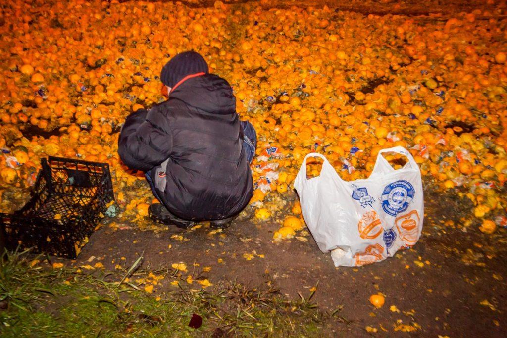 В Днепре из фуры на дорогу высыпались тонны мандарин. Фотофакт