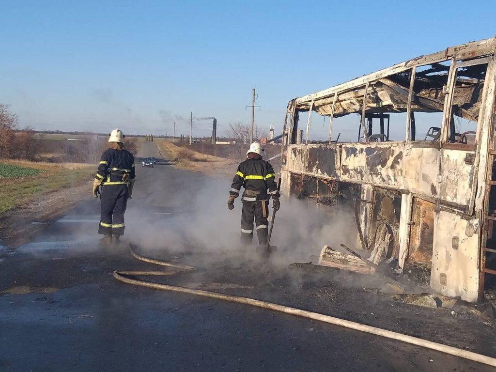 На Днепропетровщине загорелся пассажирский автобус